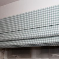 My office Roman Blind in green Gingham with matching pelmet