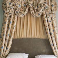 The Grange Hotel York, embroidered silk curtains room 3 bed dressing.